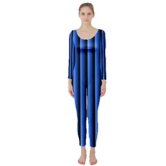 Blue Lines Background Long Sleeve Catsuit