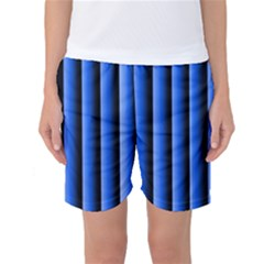 Blue Lines Background Women s Basketball Shorts