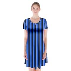 Blue Lines Background Short Sleeve V-neck Flare Dress