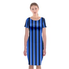 Blue Lines Background Classic Short Sleeve Midi Dress