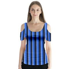 Blue Lines Background Butterfly Sleeve Cutout Tee
