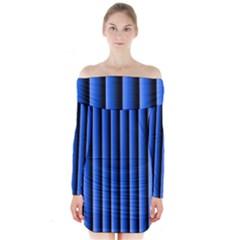Blue Lines Background Long Sleeve Off Shoulder Dress