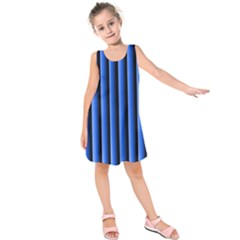 Blue Lines Background Kids  Sleeveless Dress