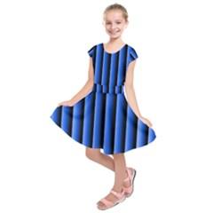 Blue Lines Background Kids  Short Sleeve Dress