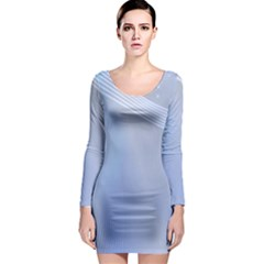 Blue Star Background Long Sleeve Bodycon Dress