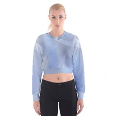 Blue Star Background Women s Cropped Sweatshirt