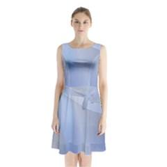 Blue Star Background Sleeveless Chiffon Waist Tie Dress