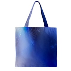 Blue Star Background Zipper Grocery Tote Bag