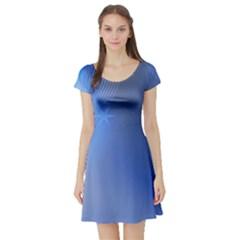 Blue Star Background Short Sleeve Skater Dress
