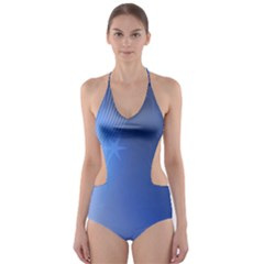 Blue Star Background Cut-Out One Piece Swimsuit