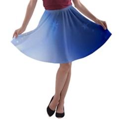 Blue Star Background A Line Skater Skirt