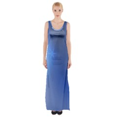 Blue Star Background Maxi Thigh Split Dress