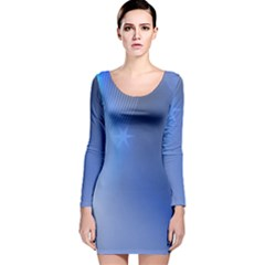 Blue Star Background Long Sleeve Velvet Bodycon Dress