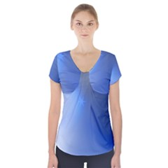 Blue Star Background Short Sleeve Front Detail Top