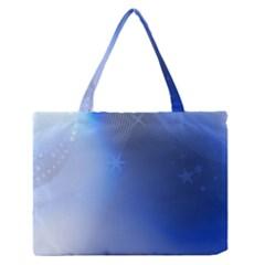 Blue Star Background Medium Zipper Tote Bag