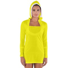 Yellow Color Women s Long Sleeve Hooded T-shirt