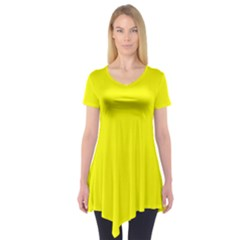 Yellow Color Short Sleeve Tunic