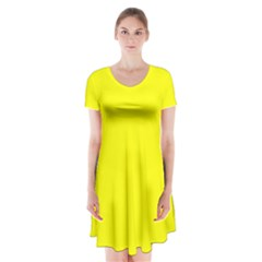 Yellow Color Short Sleeve V-neck Flare Dress