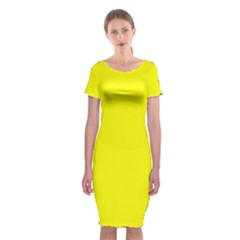Yellow Color Classic Short Sleeve Midi Dress