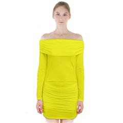 Yellow Color Long Sleeve Off Shoulder Dress