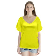 Yellow Color Flutter Sleeve Top