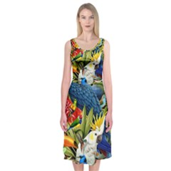 Animals Bird Midi Sleeveless Dress