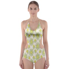 Another Supporting Tulip Flower Floral Yellow Gray Cut-Out One Piece Swimsuit