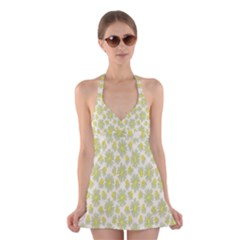 Another Supporting Tulip Flower Floral Yellow Gray Halter Swimsuit Dress