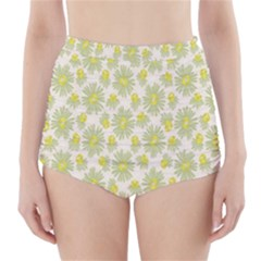 Another Supporting Tulip Flower Floral Yellow Gray High-Waisted Bikini Bottoms