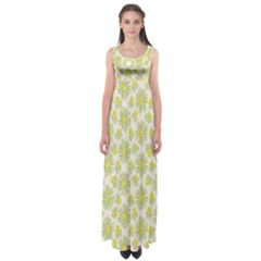 Another Supporting Tulip Flower Floral Yellow Gray Empire Waist Maxi Dress