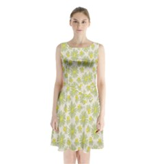 Another Supporting Tulip Flower Floral Yellow Gray Sleeveless Chiffon Waist Tie Dress