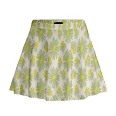 Another Supporting Tulip Flower Floral Yellow Gray Mini Flare Skirt