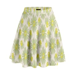 Another Supporting Tulip Flower Floral Yellow Gray High Waist Skirt