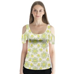 Another Supporting Tulip Flower Floral Yellow Gray Butterfly Sleeve Cutout Tee
