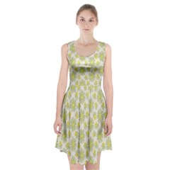Another Supporting Tulip Flower Floral Yellow Gray Racerback Midi Dress