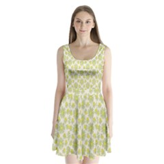 Another Supporting Tulip Flower Floral Yellow Gray Split Back Mini Dress