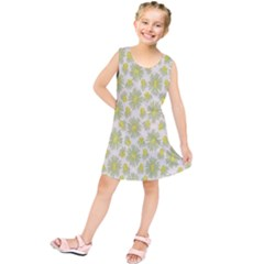 Another Supporting Tulip Flower Floral Yellow Gray Kids  Tunic Dress