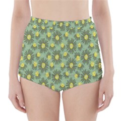 Another Supporting Tulip Flower Floral Yellow Gray Green High-Waisted Bikini Bottoms