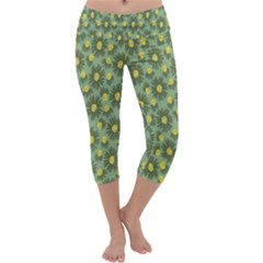 Another Supporting Tulip Flower Floral Yellow Gray Green Capri Yoga Leggings