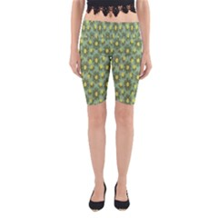 Another Supporting Tulip Flower Floral Yellow Gray Green Yoga Cropped Leggings