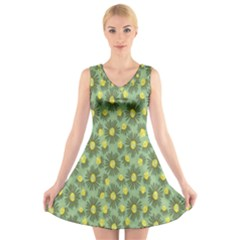 Another Supporting Tulip Flower Floral Yellow Gray Green V-Neck Sleeveless Skater Dress