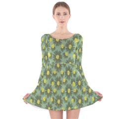 Another Supporting Tulip Flower Floral Yellow Gray Green Long Sleeve Velvet Skater Dress