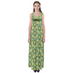 Another Supporting Tulip Flower Floral Yellow Gray Green Empire Waist Maxi Dress