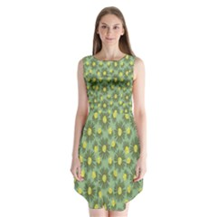 Another Supporting Tulip Flower Floral Yellow Gray Green Sleeveless Chiffon Dress