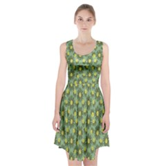Another Supporting Tulip Flower Floral Yellow Gray Green Racerback Midi Dress