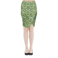 Another Supporting Tulip Flower Floral Yellow Gray Green Midi Wrap Pencil Skirt