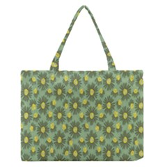 Another Supporting Tulip Flower Floral Yellow Gray Green Medium Zipper Tote Bag