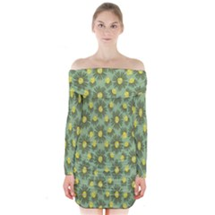 Another Supporting Tulip Flower Floral Yellow Gray Green Long Sleeve Off Shoulder Dress