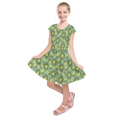 Another Supporting Tulip Flower Floral Yellow Gray Green Kids  Short Sleeve Dress