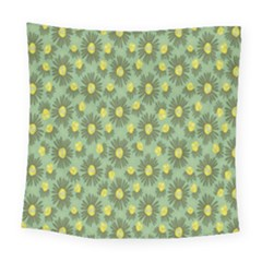 Another Supporting Tulip Flower Floral Yellow Gray Green Square Tapestry (large)